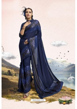 Navy Blue Party Wear Lycra Embellished Saree