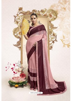 Pink And Maroon Party Wear Lycra Embellished Saree