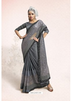 Grey Party Wear Lycra Embellished Saree