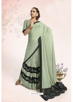 Sea Green Party Wear Lycra Embellished Saree