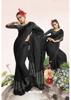 Black Party Wear Lycra Embellished Saree