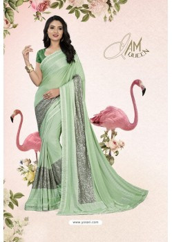 Pretty Sea Green Party Wear Lycra Embellished Saree
