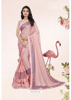 Gorgeous Baby Pink Party Wear Lycra Embellished Saree