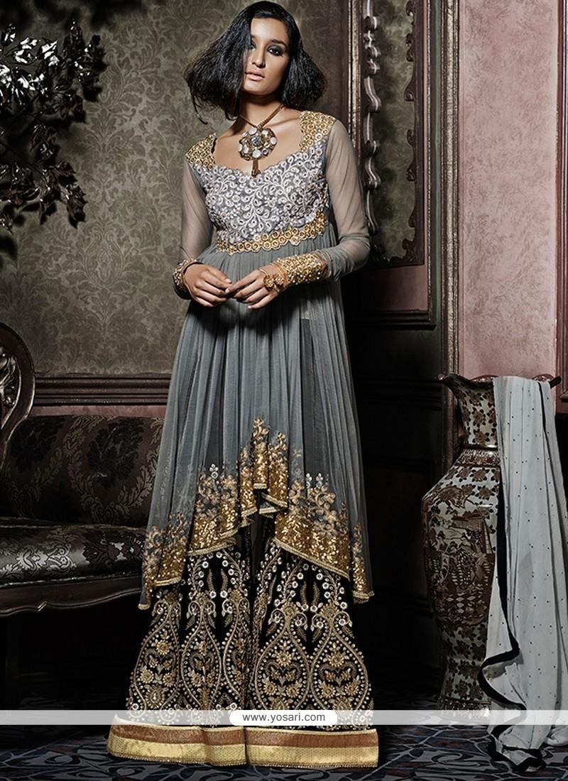2b1e57ad1f Shop online Fetching Grey Net Designer Palazzo Salwar Kameez
