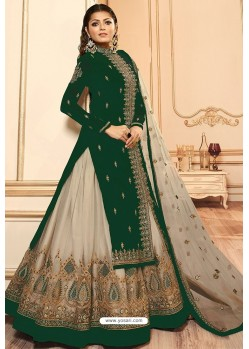 Dark Green Faux Georgette Designer Lehenga Suit