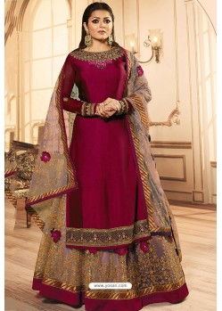 Medium Violet Georgette Designer Party Wear Lehenga Suit