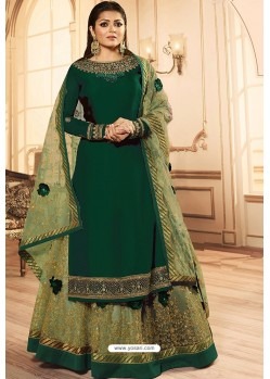 Dark Green Georgette Designer Party Wear Lehenga Suit