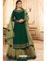 Dark Green Georgette Designer Party Wear Lehenga Suit