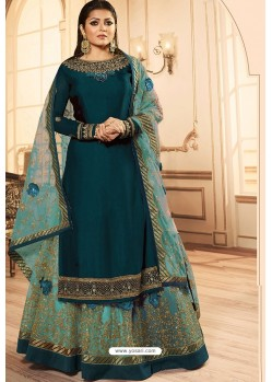 Teal Blue Georgette Designer Party Wear Lehenga Suit