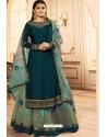 Teal Blue Georgette Designer Party Wear Lehenga Suit