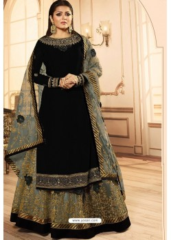 Black Georgette Designer Party Wear Lehenga Suit