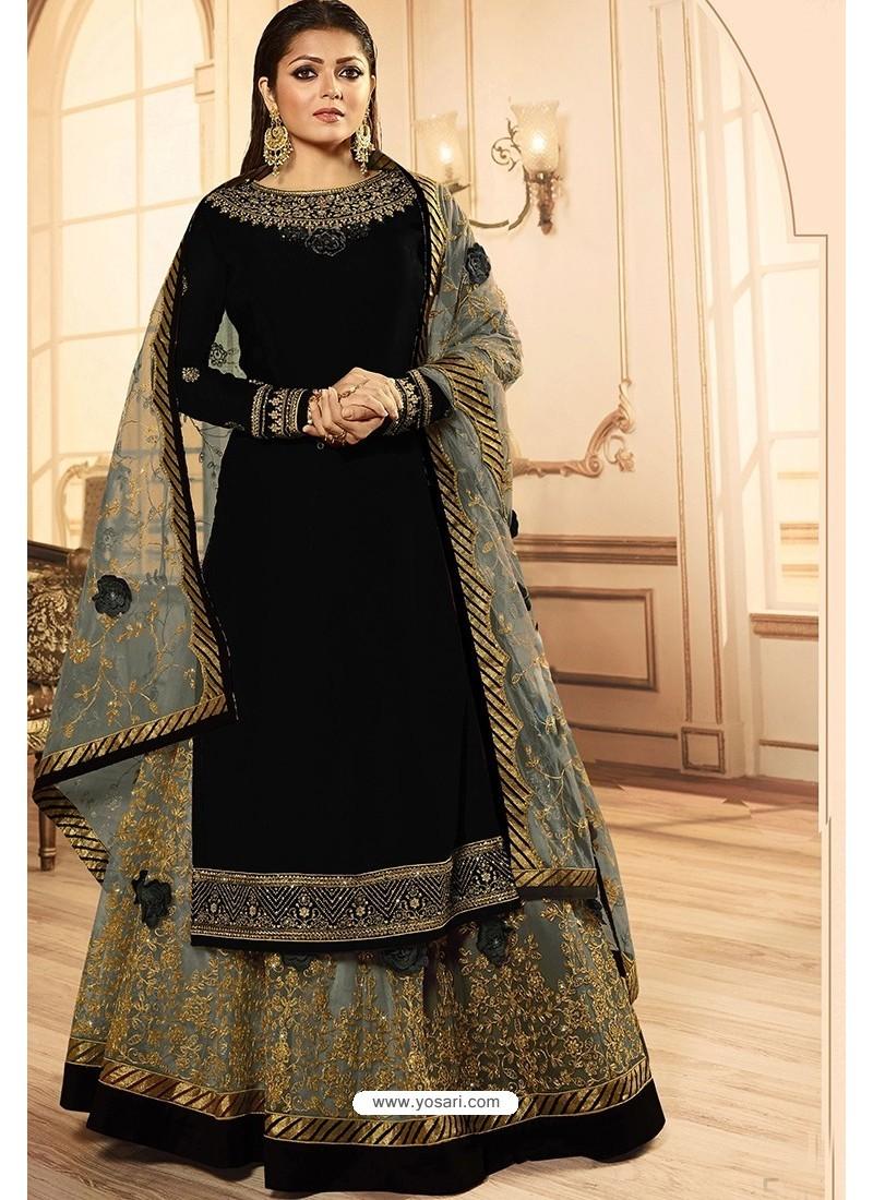 Black Georgette Designer Party Wear Lehenga Suit