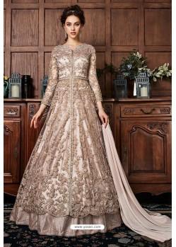 Light Beige Heavy Soft Net Designer Anarkali Suit