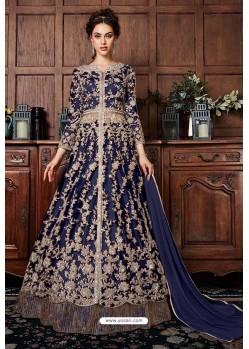 Navy Blue Heavy Soft Net Designer Anarkali Suit