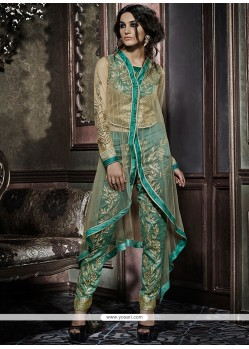 Divine Zari Work Silk Cream And Green Designer Salwar Suit