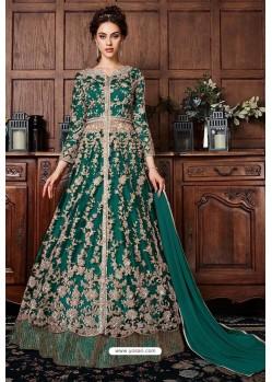 Teal Heavy Soft Net Designer Anarkali Suit