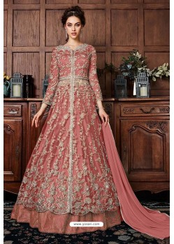 Peach Heavy Soft Net Designer Anarkali Suit