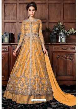 Mustard Heavy Soft Net Designer Anarkali Suit