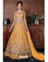 Mustard Heavy Soft Net Designer Anarkali Suit