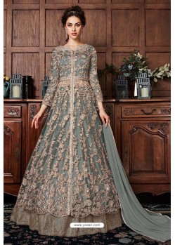 Grey Heavy Soft Net Designer Anarkali Suit