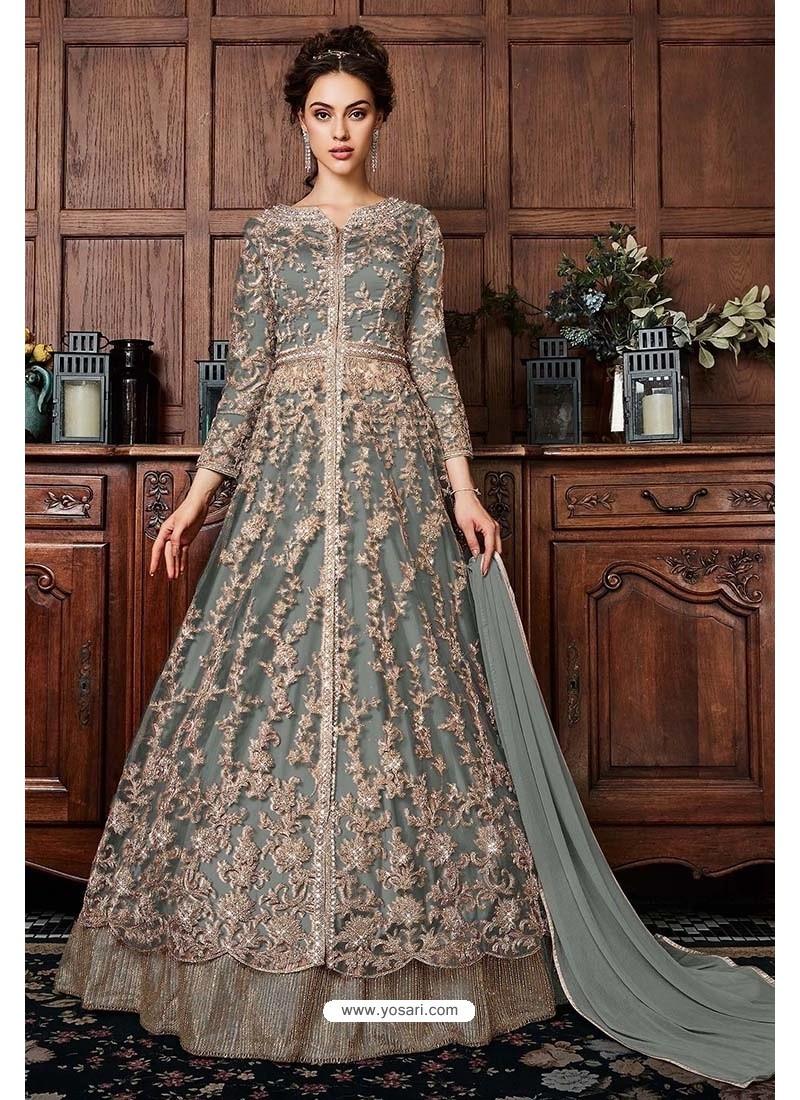 Grey Heavy Soft Net Designer Anarkali Suit