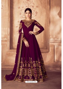 Violet Real Georgette Bridal Wear Anarkali Suit
