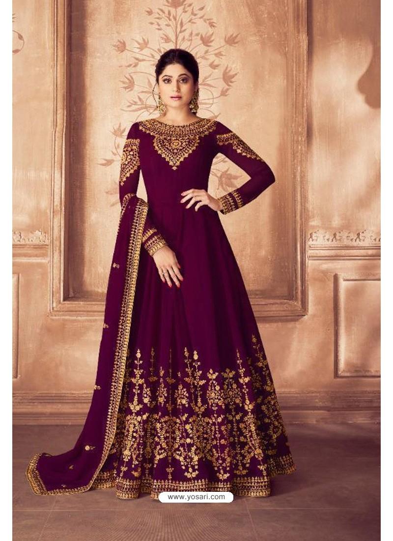 Violet Real Georgette Bridal Wear Anarkali Suit