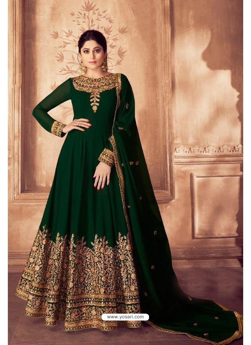 Dark Green Real Georgette Bridal Wear Anarkali Suit