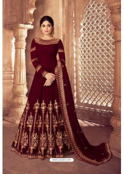 Maroon Real Georgette Bridal Wear Anarkali Suit