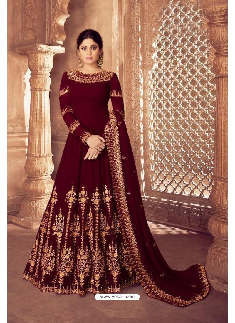 Maroon Real Georgette Bridal Wear Anarkali Suit