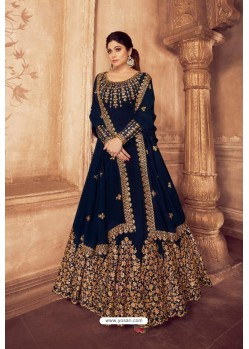 Navy Blue Real Georgette Bridal Wear Anarkali Suit