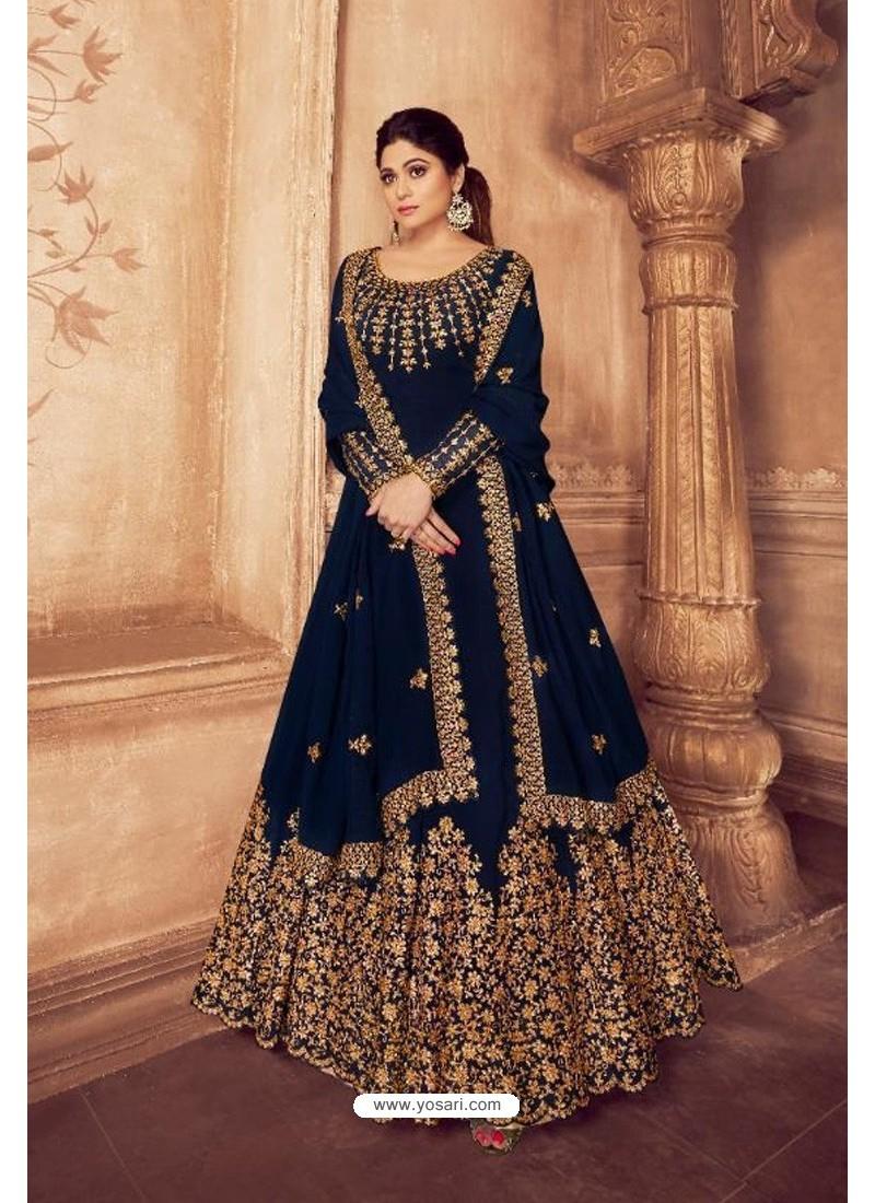 Navy Blue Real Georgette Bridal Wear Anarkali Suit