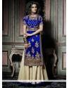 Ravishing Blue Resham Work Velvet Designer Palazzo Salwar Suit
