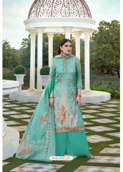 Aqua Mint Party Wear Jam Silk Cotton Palazzo Suit
