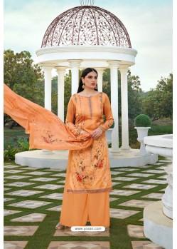 Orange Party Wear Jam Silk Cotton Palazzo Suit