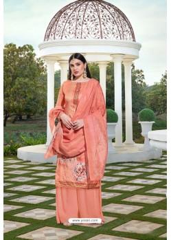 Peach Party Wear Jam Silk Cotton Palazzo Suit