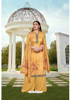 Mustard Party Wear Jam Silk Cotton Palazzo Suit