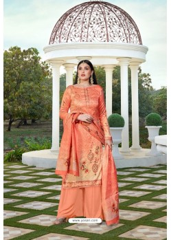 Light Orange Party Wear Jam Silk Cotton Palazzo Suit