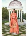 Light Orange Party Wear Jam Silk Cotton Palazzo Suit