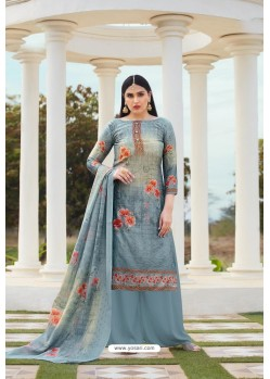 Grey Party Wear Jam Silk Cotton Palazzo Suit
