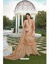Lovely Beige Party Wear Jam Silk Cotton Palazzo Suit