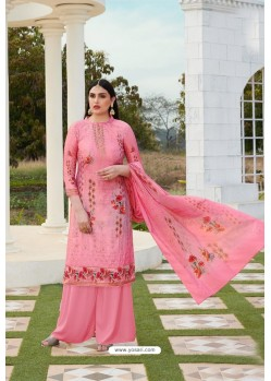 Light Pink Party Wear Jam Silk Cotton Palazzo Suit