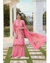 Light Pink Party Wear Jam Silk Cotton Palazzo Suit