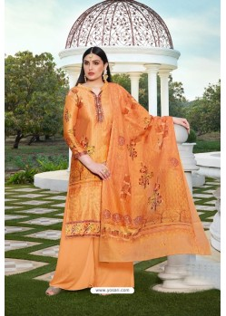 Perfect Orange Party Wear Jam Silk Cotton Palazzo Suit