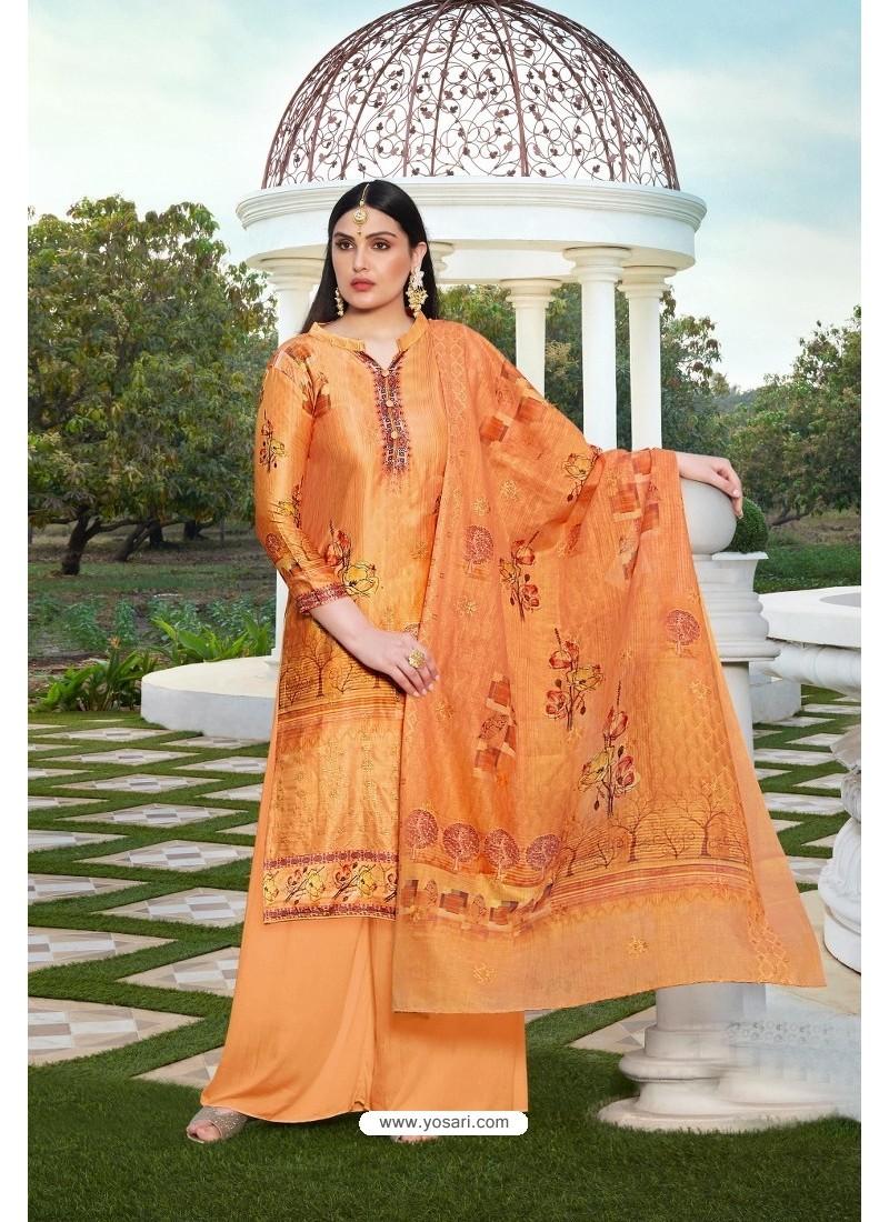 Perfect Orange Party Wear Jam Silk Cotton Palazzo Suit