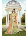 Sea Green Party Wear Jam Silk Cotton Palazzo Suit