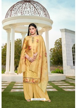 Yellow Party Wear Jam Silk Cotton Palazzo Suit