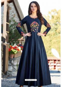 Navy Designer Party Wear Heavy Embroidered Gown