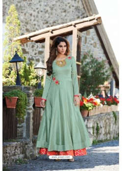 Sea Green Designer Party Wear Heavy Embroidered Gown