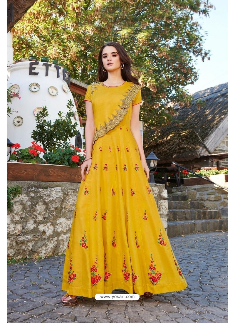 Yellow Designer Party Wear Heavy Embroidered Gown